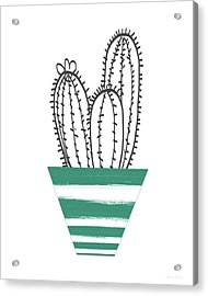 Acrylic Print featuring the mixed media Cactus In A Green Pot- Art By Linda Woods by Linda Woods