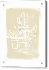 Cactus In Pots- Art By Linda Woods Acrylic Print by Linda Woods