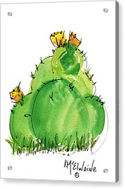 Cactus In The Yellow Flower Watercolor Painting By Kmcelwaine Acrylic Print