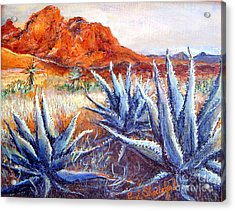 Acrylic Print featuring the painting Cactus View by Linda Shackelford