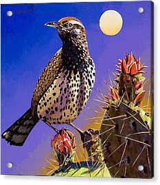 Acrylic Print featuring the painting Cactus Wren by Bob Coonts