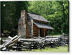 Acrylic Print featuring the photograph Cade's Cove Cabin by John Black