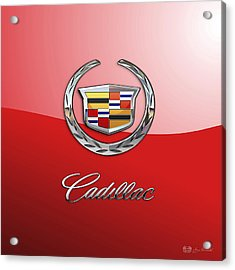 Cadillac - 3 D Badge On Red Acrylic Print by Serge Averbukh