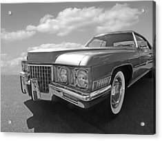 Cadillac Coupe De Ville 1971 In Black And White Acrylic Print