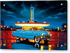 Cadillac Diner Acrylic Print by MGL Studio - Chris Hiett