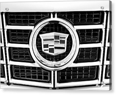 Cadillac Emblem Front Bw Acrylic Print