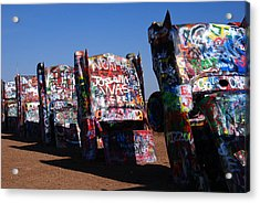 Cadillac Ranch On Route 66 Acrylic Print by Susanne Van Hulst