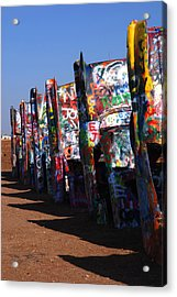 Cadillac Ranch Route 66 Acrylic Print by Susanne Van Hulst