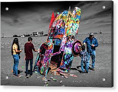 Acrylic Print featuring the photograph Cadillac Ranch Spray Paint Fun Along Historic Route 66 By Amarillo Texas by Randall Nyhof