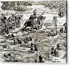 Caesar's Legions Crossing The Thames Acrylic Print by Pat Nicolle