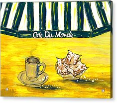 Cafe Au Lait And Beignets On Yellow Background Acrylic Print by Catherine Wilson
