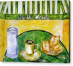 Cafe Au Lait And Beignets With Sugar Acrylic Print by Catherine Wilson