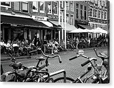 Cafe Crowds In Amsterdam Mono Acrylic Print by John Rizzuto