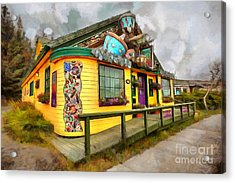 Acrylic Print featuring the digital art Cafe Cups by Eva Lechner