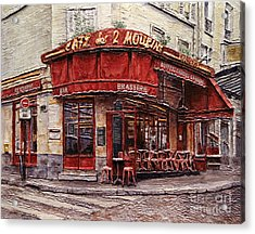 Cafe Des 2 Moulins- Paris Acrylic Print by Joey Agbayani