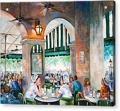 Cafe Girls Acrylic Print by Dianne Parks