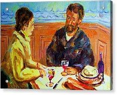 Cafe  Homage  De Pierre Auguste Acrylic Print by Carole Spandau