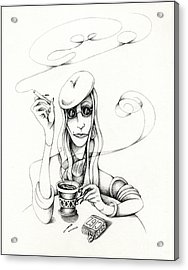 Cafe Lady Acrylic Print