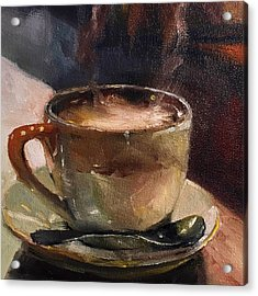 Cafe Love Coffee Painting Acrylic Print by Michele Carter