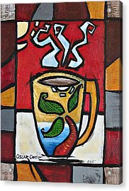 Acrylic Print featuring the painting Cafe Palmera by Oscar Ortiz