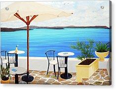 Cafe Santorini On The Rim  Acrylic Print
