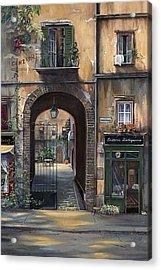 Cafe Sienna Italy Acrylic Print by Barbara Davies