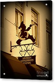 Cafe Sign In Holland Acrylic Print by Carol Groenen
