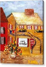 Cafe St.martin Acrylic Print by Annie St Martin
