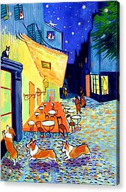 Cafe Terrace At Night - After Van Gogh With Corgis Acrylic Print by Lyn Cook
