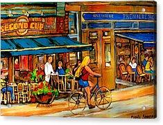 Cafes With Blue Awnings Acrylic Print by Carole Spandau
