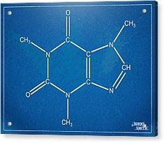 Caffeine Molecular Structure Blueprint Acrylic Print by Nikki Marie Smith