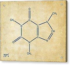 Caffeine Molecular Structure Vintage Acrylic Print by Nikki Marie Smith