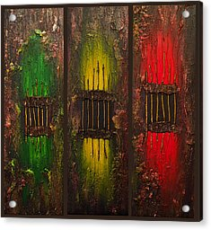 Acrylic Print featuring the painting Caged Abstract by Patricia Lintner