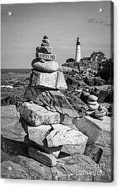 Cairn And Lighthouse  -56052-bw Acrylic Print