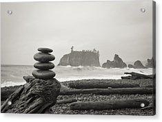 Cairn On A Beach Acrylic Print