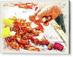 Acrylic Print featuring the digital art Cajun Cooked Crawfish by Barry Jones