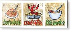 Cajun Food Trio White Border Acrylic Print by Elaine Hodges