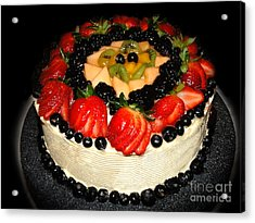 Cake Decorated With Fresh Fruit Acrylic Print by Sue Melvin