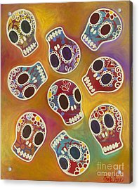 Acrylic Print featuring the painting Calaberitas Day Of The Dead Skulls by Carla Bank