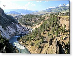 Calcite Springs Along The Bank Of The Yellowstone River Acrylic Print