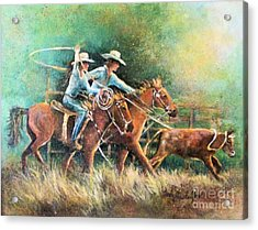 Acrylic Print featuring the painting Calf Roping by Linda Shackelford