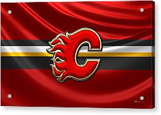 Calgary Flames - 3d Badge Over Flag Acrylic Print