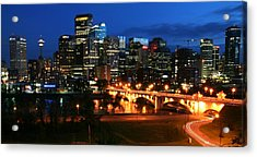 Calgary Skyline At Night Acrylic Print by Jetson Nguyen