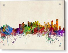 Calgary Skyline Acrylic Print by Michael Tompsett