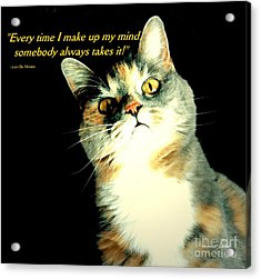 Calico Kitty - Paintograph With Losing-mind Quotation Acrylic Print by Christine S Zipps
