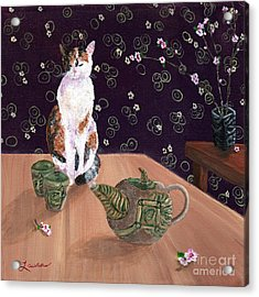 Calico Tea Meditation Acrylic Print by Laura Iverson