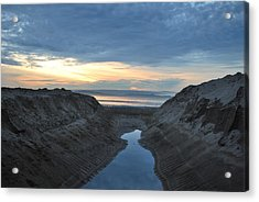 California Beach Stream At Sunset - Alt View Acrylic Print