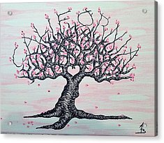 Acrylic Print featuring the drawing California Cherry Blossom Love Tree by Aaron Bombalicki
