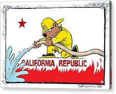 California Firefighter Flag Acrylic Print
