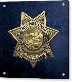 California Highway Patrol  -  C H P  Chief Badge Over Blue Velvet Acrylic Print